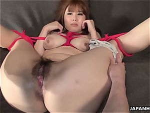chinese huge-boobed honey strapped up to be plaything penetrated