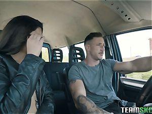 super-sexy dark-haired inhaling sausage in the car
