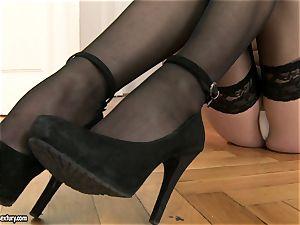 Jessica Koks wearing a killer ebony stockings
