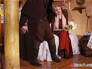 tiny crimson riding rubber hood Elsa Jean drilled testicles deep by strung up hunter