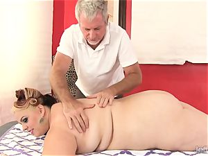 bbw huge-chested Bella gets a romp rubdown