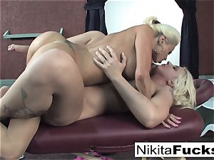 Nikita gets a relieving rubdown from Leya