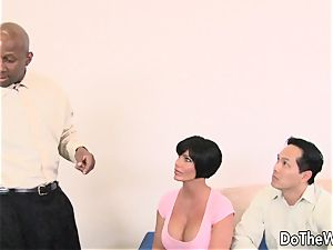 brunette wife takes ginormous ebony pink cigar
