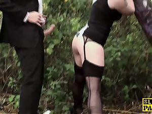 Outdoor facefucked british subordinated jizz-swallowing