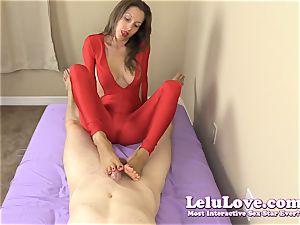 dressed woman gives you hand job and footjob