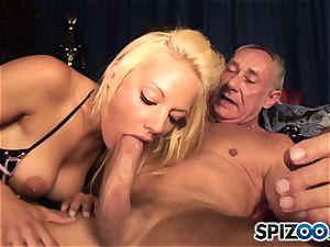 Grandad plays with brit ash-blonde hottie Lou Lou
