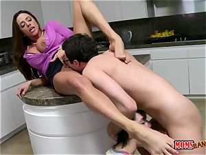 big-titted mummy Ariella Ferrera seduces her sonnie in law in the kitchen while her daughter-in-law sleeps