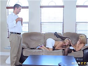 Alexis Fawx and Abby Cross torn up by dangled spanish cock