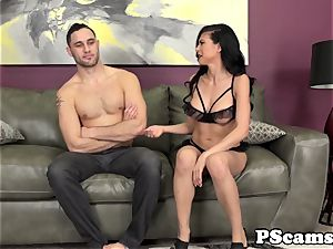 big-chested webcam babe Heather Vahn smashes on bed