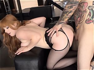 Ginger babe Penny Pax takes smallish hands ginormous trouser snake deep