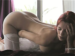 Piper Fawn jacking on satin sheets
