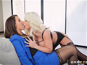 Isis enjoy and Alura Jenson fake penis sharing