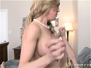 Brandi enjoy instructs her stepson a lesson