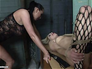 Mandy Bright tied a hot woman in net pantyhose