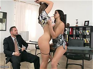 bi-atch Debbie milky has a super hot super-hot 3some