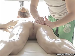 soft massage sprays fire inbetween her gams