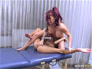 Janice Griffith give Monique Alexander a rubdown to remember