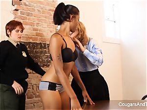 fantastic ebony cop plumbs her two coworkers