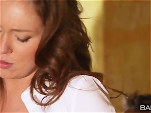 Maddy OReilly is torn up over the desk by the manager
