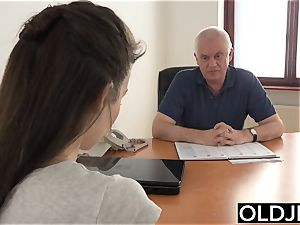 girl plowed by old dude Office suck blowage