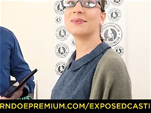 exposed casting - Nerdy amateur black-haired sweetheart plowed