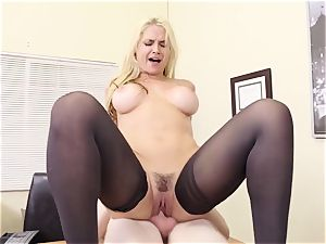 huge-chested ash-blonde boss Sarah Vandella tempts young employee