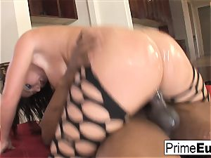ginormous tit black-haired Sophie Dee has interracial fun