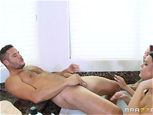 Maid Peta Jensen washes the cunny of Monique Alexander and gets muff thrashed by Danny Mountain