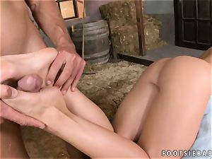 Kathia Nobili lays down and laps up a rock-hard wood