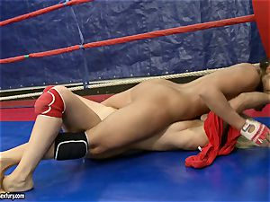 Brandy smile do some kicking with her nude opponent