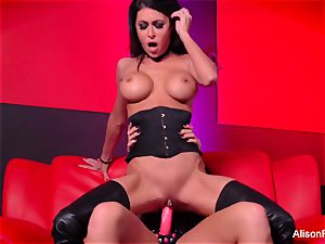 Alison Tyler pokes Jessica Jaymes with a strap-on