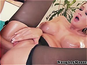 buxom lady greased up before fine anal invasion fuck-fest